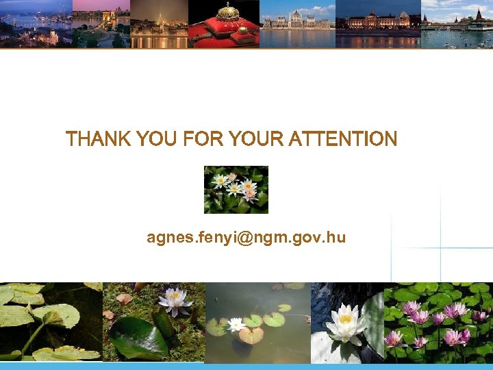 THANK YOU FOR YOUR ATTENTION agnes. fenyi@ngm. gov. hu
