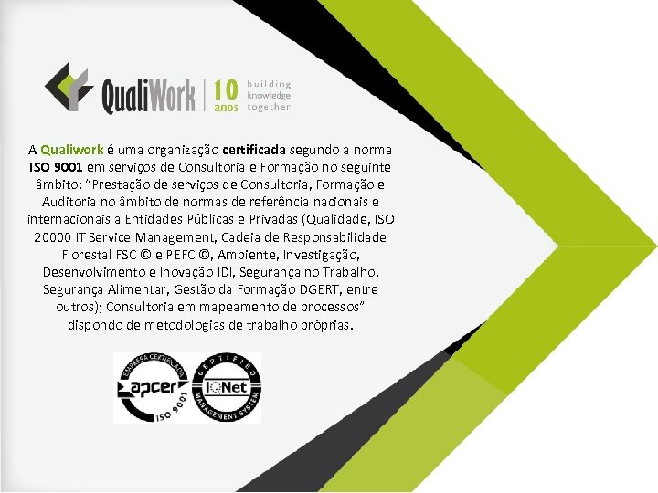 A Qualiwork é uma organização certificada segundo a norma ISO 9001 em serviços de