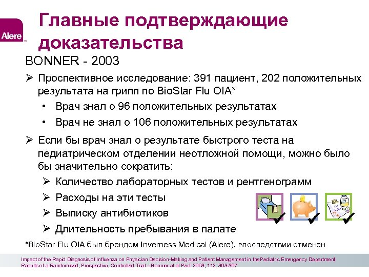 Главные подтверждающие доказательства BONNER - 2003 Проспективное исследование: 391 пациент, 202 положительных результата на