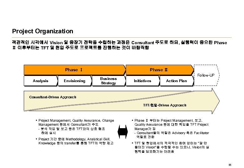 Project Organization 객관적인 시각에서 Vision 및 중장기 전략을 수립하는 과정은 Consultant 주도로 하되, 실행력이