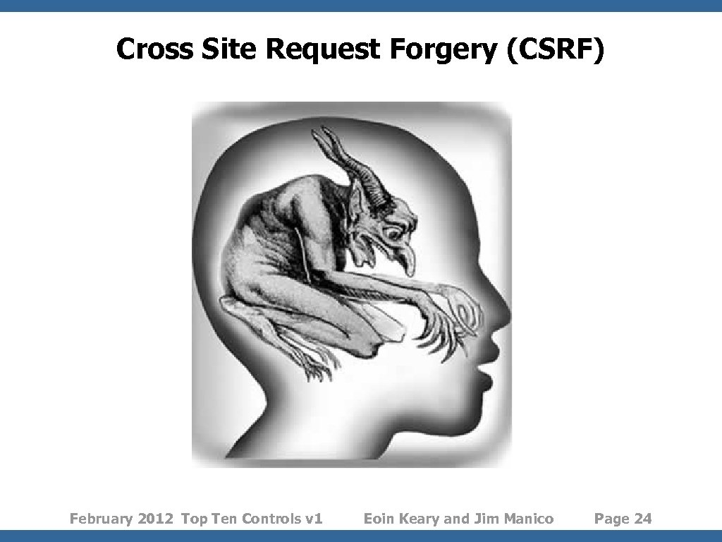 Cross Site Request Forgery (CSRF) February 2012 Top Ten Controls v 1 Eoin Keary