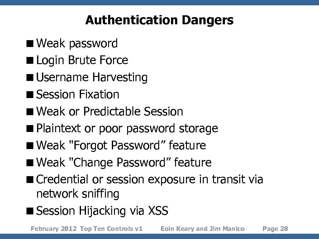 Authentication Dangers <Weak password <Login Brute Force <Username Harvesting <Session Fixation <Weak or Predictable