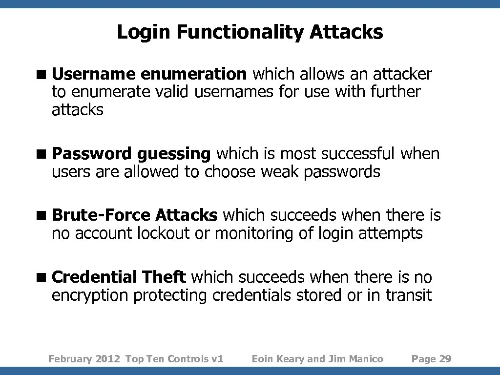Login Functionality Attacks < Username enumeration which allows an attacker to enumerate valid usernames