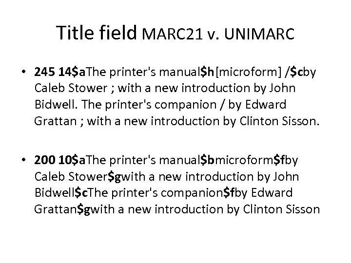 Title field MARC 21 v. UNIMARC • 245 14$a. The printer's manual$h[microform] /$cby Caleb