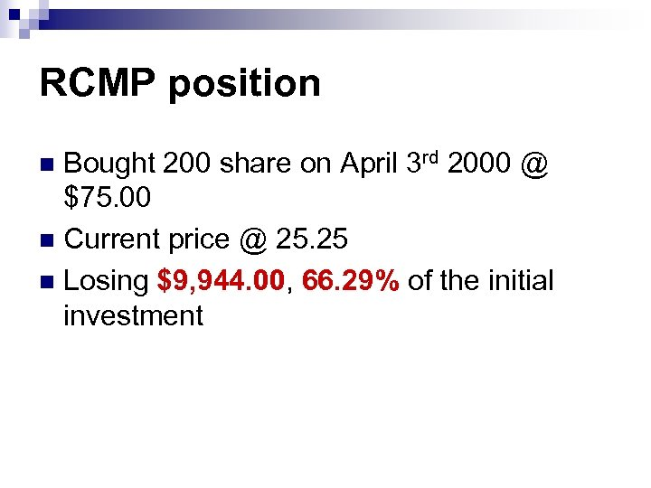 RCMP position Bought 200 share on April 3 rd 2000 @ $75. 00 n