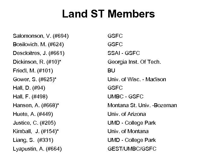 Land ST Members Salomonson, V. (#694) GSFC Bosilovich. M. (#624) GSFC Descloitres, J. (#661)