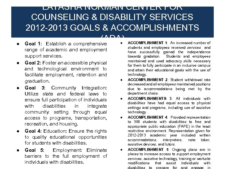 ● ● ● LATASHA NORMAN CENTER FOR COUNSELING & DISABILITY SERVICES 2012 -2013 GOALS