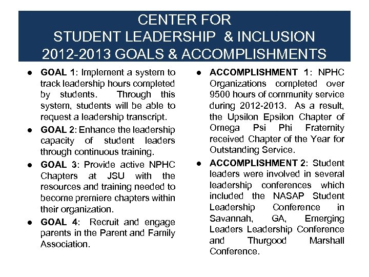 CENTER FOR STUDENT LEADERSHIP & INCLUSION 2012 -2013 GOALS & ACCOMPLISHMENTS ● GOAL 1: