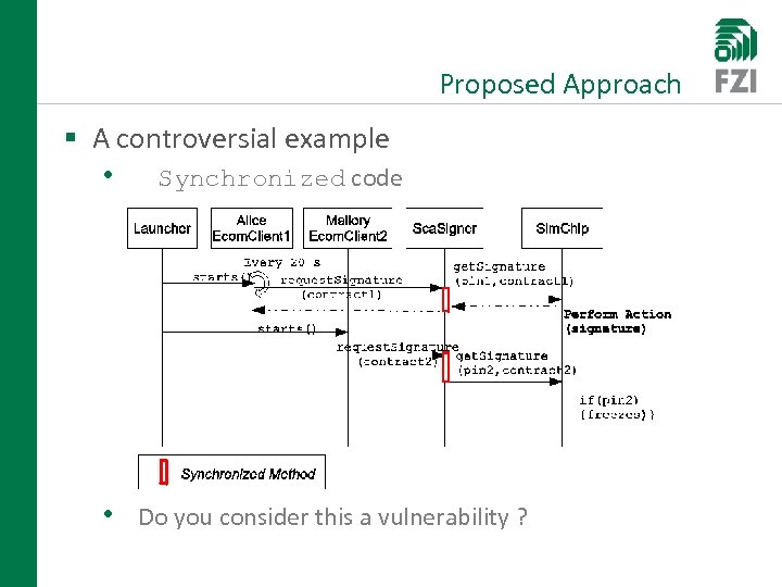 Proposed Approach § A controversial example • Synchronized code • Do you consider this