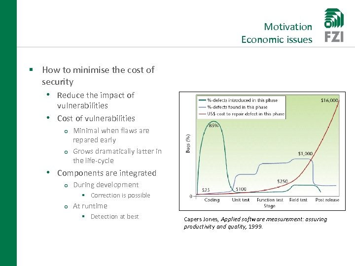 Motivation Economic issues § How to minimise the cost of security • Reduce the