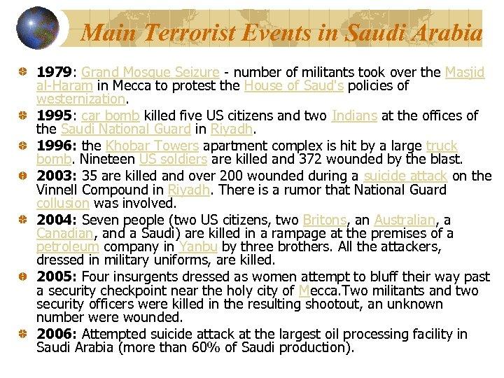 Main Terrorist Events in Saudi Arabia 1979: Grand Mosque Seizure - number of militants