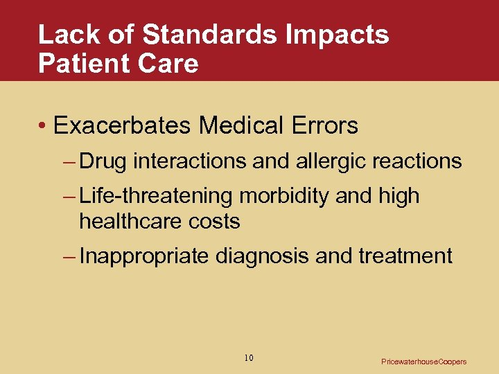 Lack of Standards Impacts Patient Care • Exacerbates Medical Errors – Drug interactions and