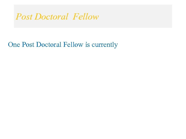 Post Doctoral Fellow One Post Doctoral Fellow is currently