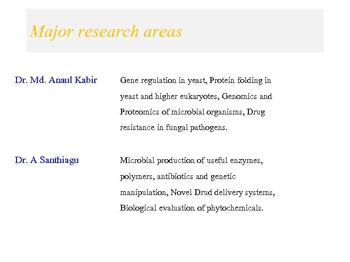Major research areas Dr. Md. Anaul Kabir Gene regulation in yeast, Protein folding in
