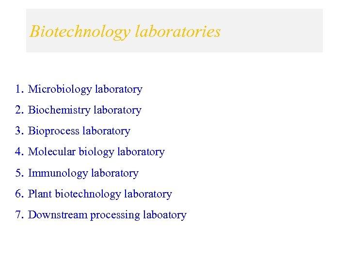Biotechnology laboratories 1. Microbiology laboratory 2. Biochemistry laboratory 3. Bioprocess laboratory 4. Molecular biology