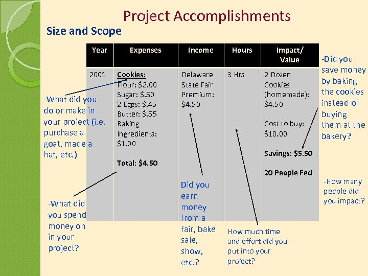 Size and Scope Year 2001 -What did you do or make in your project