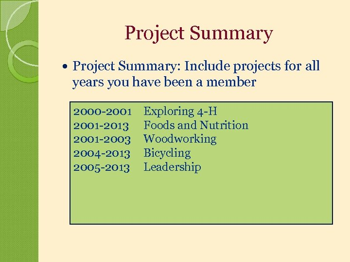 Project Summary Project Summary: Include projects for all years you have been a member