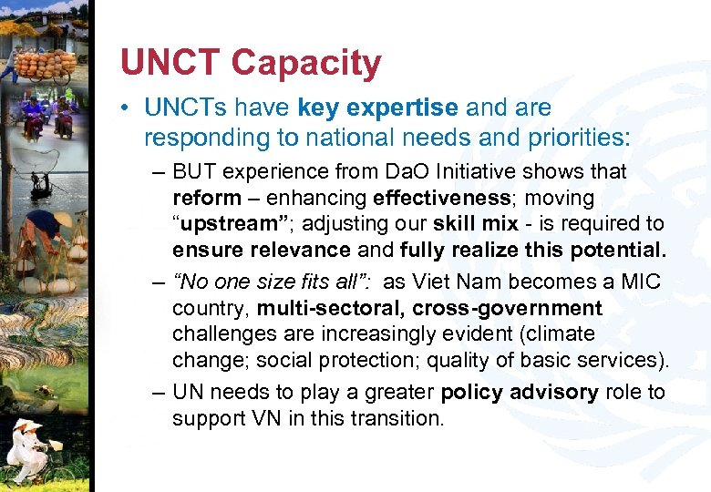UNCT Capacity • UNCTs have key expertise and are responding to national needs and