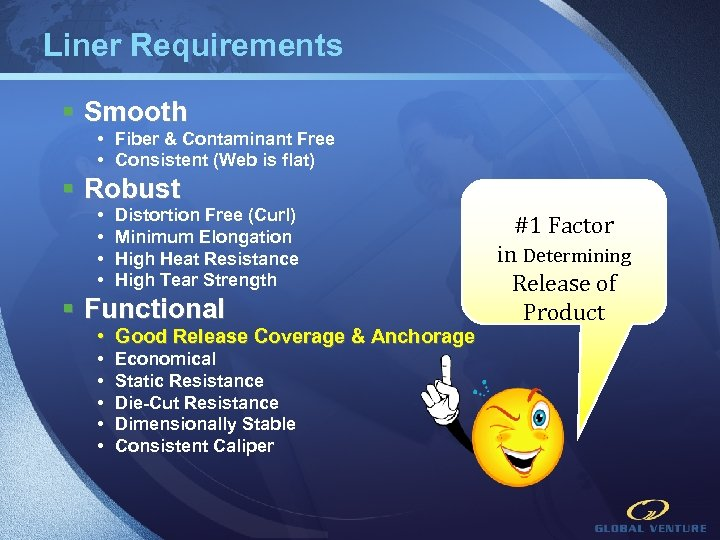 Liner Requirements § Smooth • Fiber & Contaminant Free • Consistent (Web is flat)