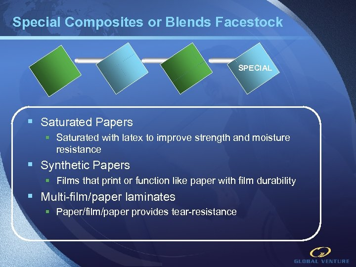 Special Composites or Blends Facestock LM FI SPECIAL § Saturated Papers § Saturated with