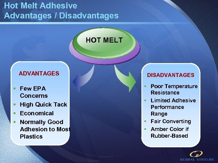 Hot Melt Adhesive Advantages / Disadvantages HOT MELT ADVANTAGES § Few EPA Concerns §