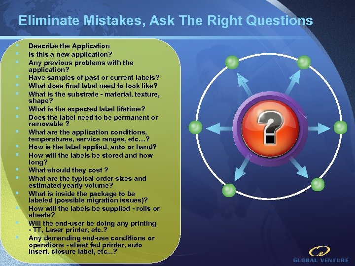Eliminate Mistakes, Ask The Right Questions § § § § § Describe the Application