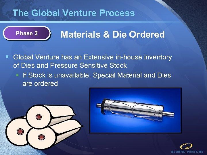 The Global Venture Process Phase 2 Materials & Die Ordered § Global Venture has