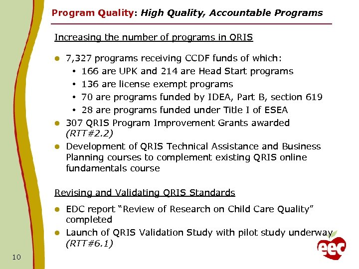 Program Quality: High Quality, Accountable Programs Increasing the number of programs in QRIS 7,