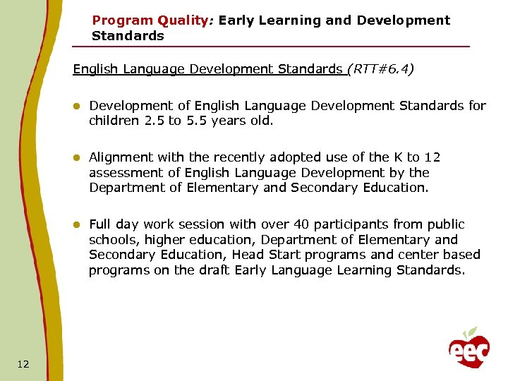 Program Quality: Early Learning and Development Standards English Language Development Standards (RTT#6. 4) l