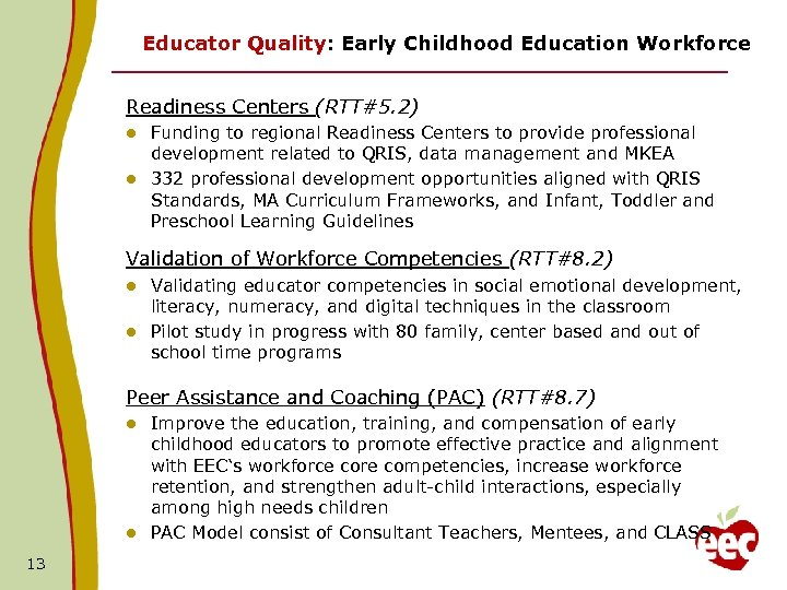 Educator Quality: Early Childhood Education Workforce Readiness Centers (RTT#5. 2) Funding to regional Readiness
