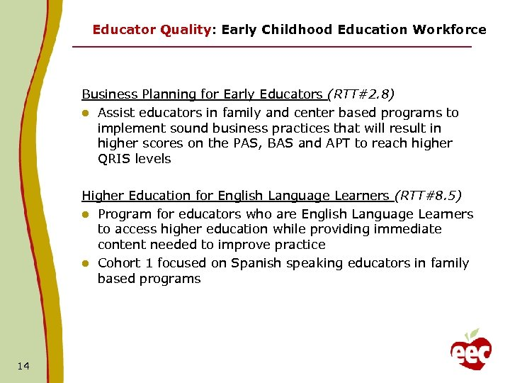 Educator Quality: Early Childhood Education Workforce Business Planning for Early Educators (RTT#2. 8) l