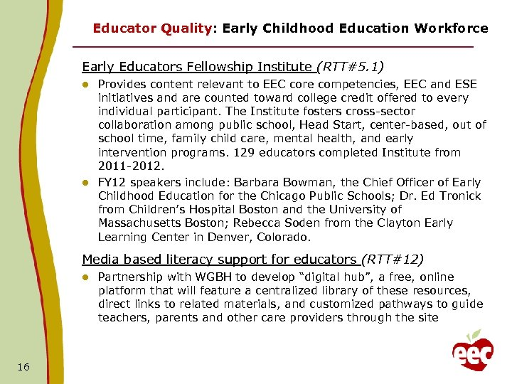 Educator Quality: Early Childhood Education Workforce Early Educators Fellowship Institute (RTT#5. 1) Provides content