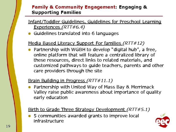 Family & Community Engagement: Engaging & Supporting Families Infant/Toddler Guidelines, Guidelines for Preschool Learning