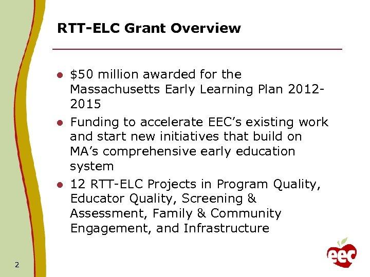 RTT-ELC Grant Overview $50 million awarded for the Massachusetts Early Learning Plan 20122015 l