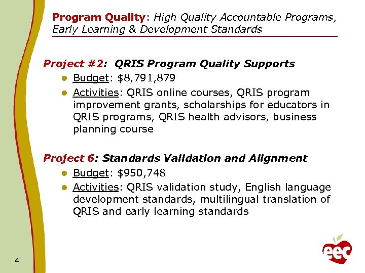 Program Quality: High Quality Accountable Programs, Early Learning & Development Standards Project #2: QRIS