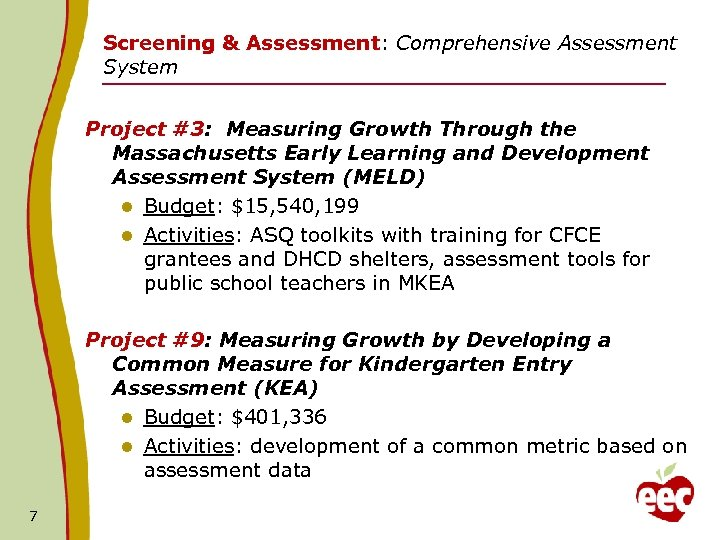 Screening & Assessment: Comprehensive Assessment System Project #3: Measuring Growth Through the Massachusetts Early