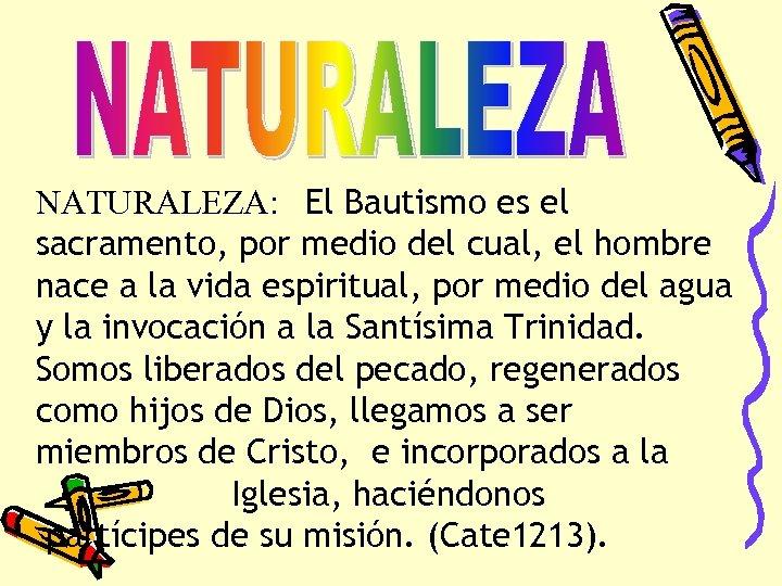 NATURALEZA: El Bautismo es el sacramento, por medio del cual, el hombre nace a