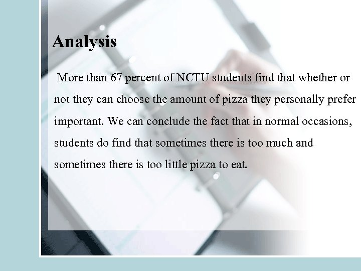 Analysis More than 67 percent of NCTU students find that whether or not they