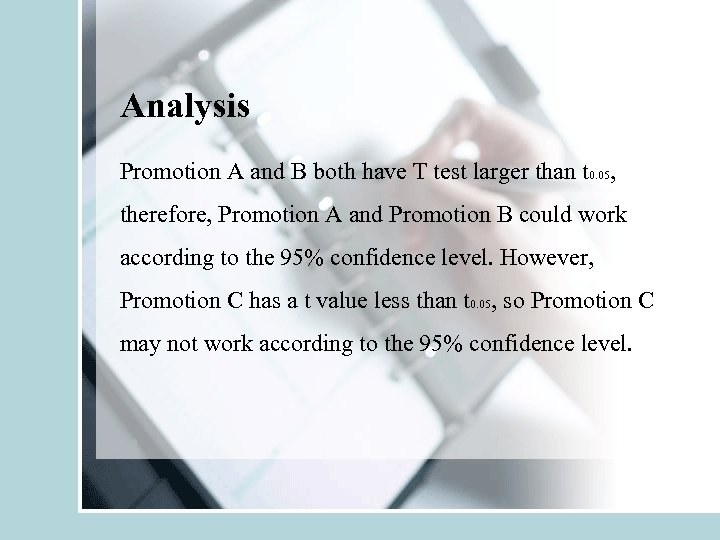 Analysis Promotion A and B both have T test larger than t 0. 05,