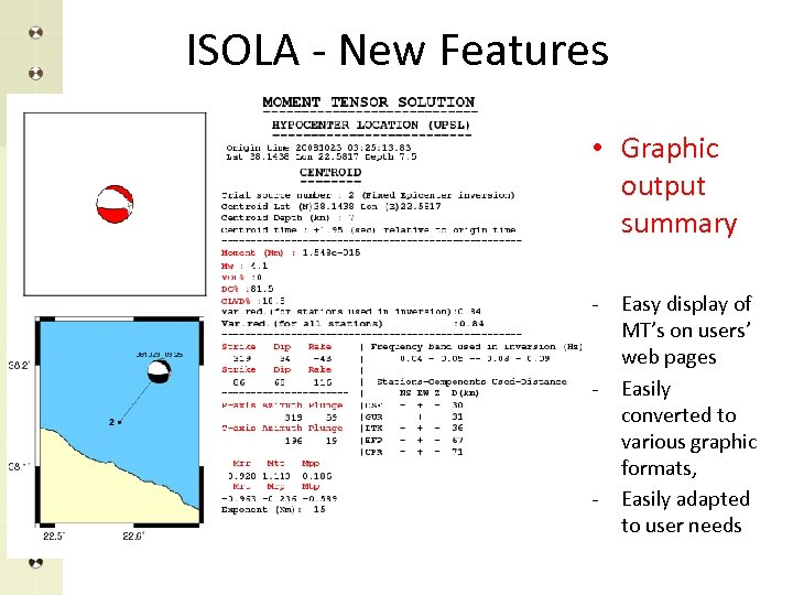 ISOLA - New Features • Graphic output summary - - - Easy display of