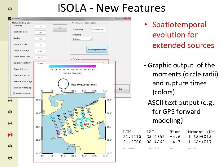 ISOLA - New Features • Spatiotemporal evolution for extended sources - Graphic output of