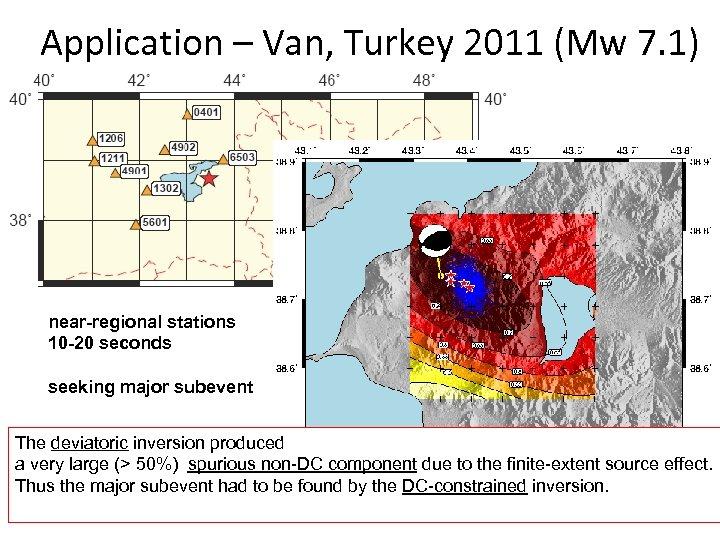 Application – Van, Turkey 2011 (Mw 7. 1) near-regional stations 10 -20 seconds seeking