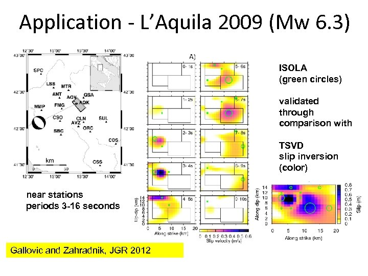 Application - L'Aquila 2009 (Mw 6. 3) ISOLA (green circles) validated through comparison with