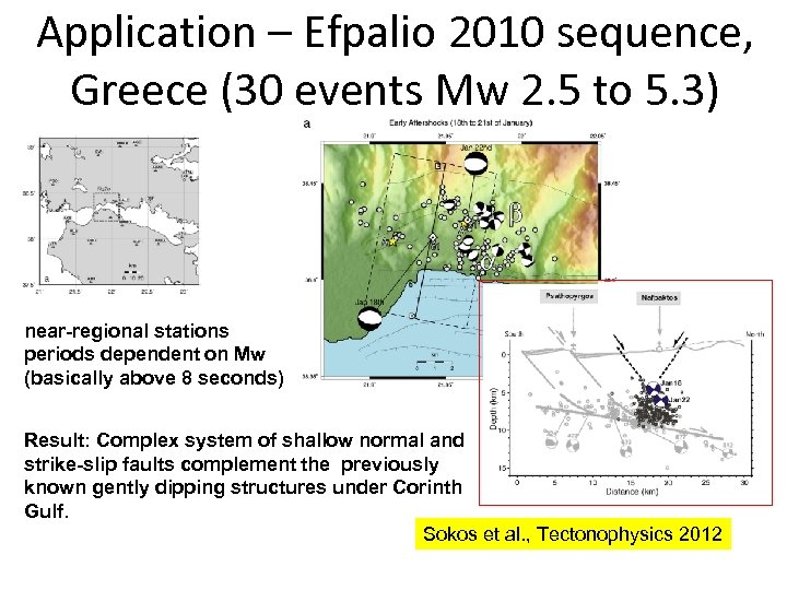 Application – Efpalio 2010 sequence, Greece (30 events Mw 2. 5 to 5. 3)