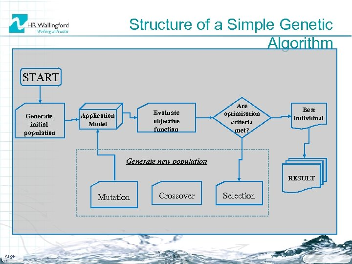 Structure of a Simple Genetic Algorithm START Generate initial population Evaluate objective function Application