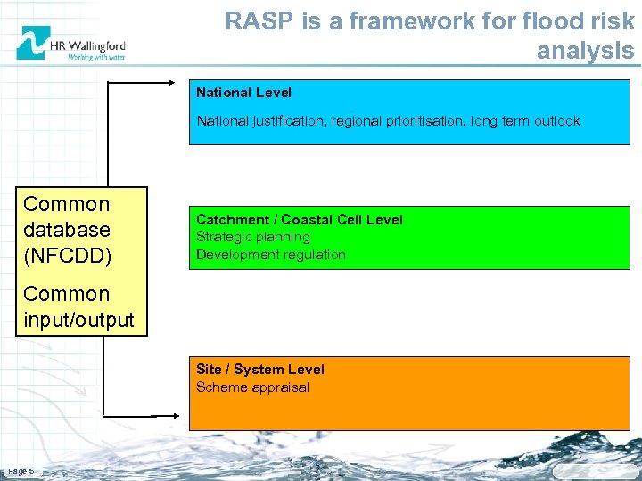 RASP is a framework for flood risk analysis National Level National justification, regional prioritisation,