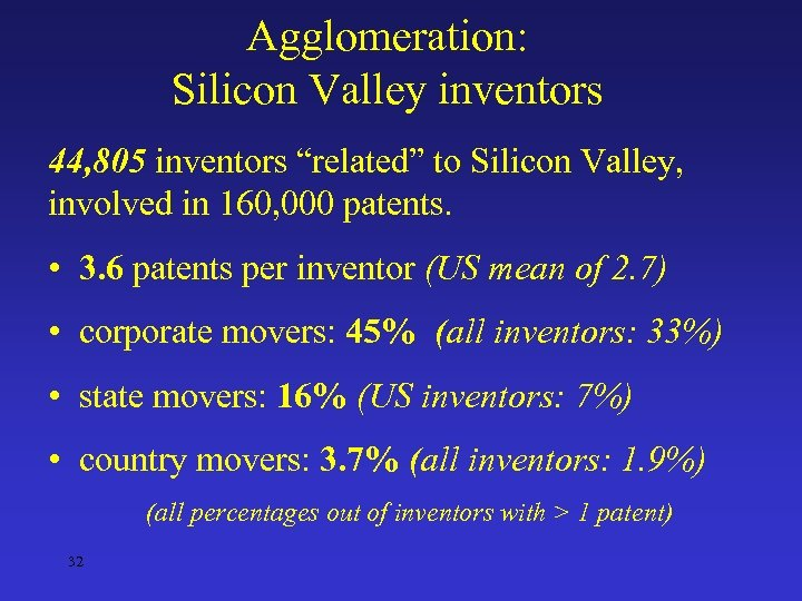 "Agglomeration: Silicon Valley inventors 44, 805 inventors ""related"" to Silicon Valley, involved in 160,"