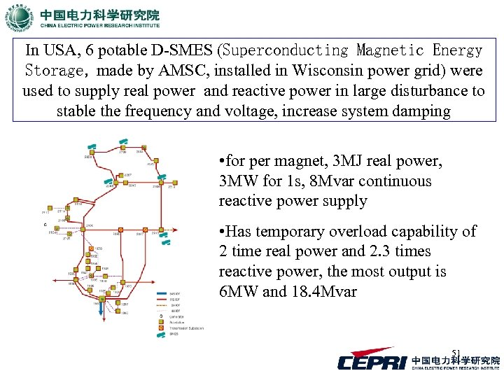 In USA, 6 potable D-SMES (Superconducting Magnetic Energy Storage, made by AMSC, installed in