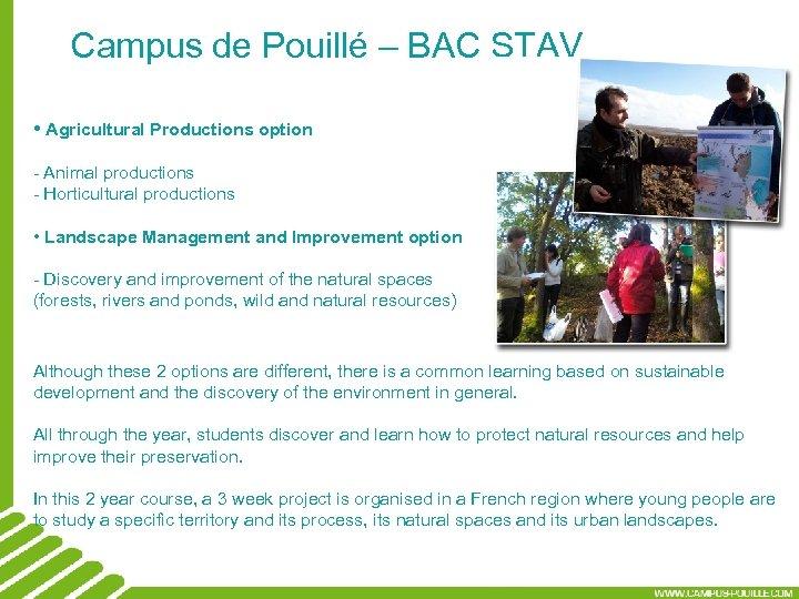 Campus de Pouillé – BAC STAV • Agricultural Productions option - Animal productions -