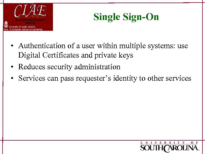 Single Sign-On • Authentication of a user within multiple systems: use Digital Certificates and